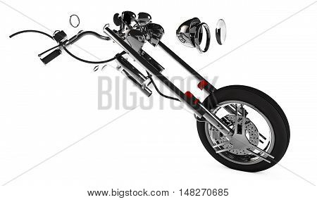 motorcycle parts on an isolated white background 3D render