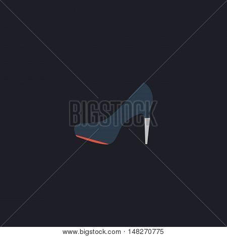high heels Color vector icon on dark background