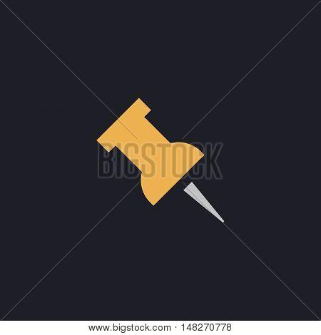 Pushpin Color vector icon on dark background