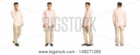 Handsome Young Man In White Coral Standing Isolated