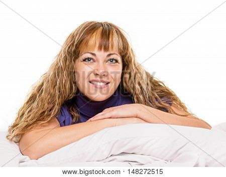 young girl laying in bedroom at early morning, on white background