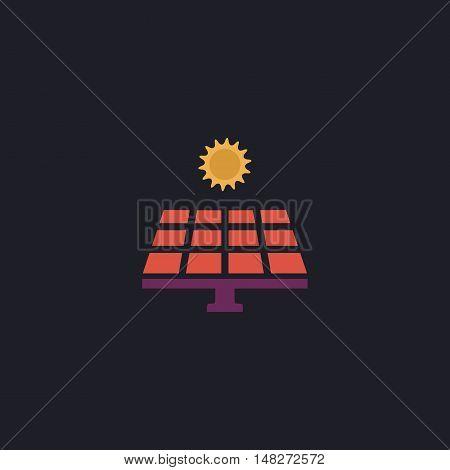Solar energy Color vector icon on dark background