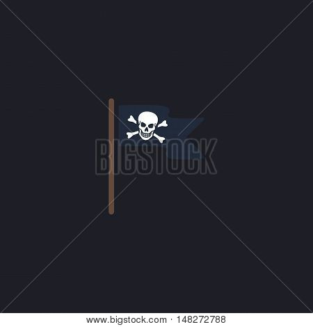 Jolly Roger Color vector icon on dark background