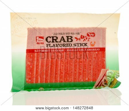 Winneconne WI - 30 August 2016: Package of Haetae crab flavored sticks on an isolated background.