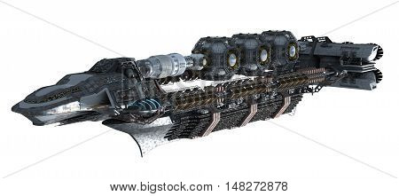 3d illustration of an intergalactic space station for futuristic deep space travel or science fiction backgrounds, with the clipping path included in the file