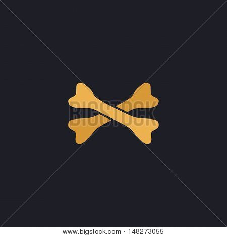 crossed bones Color vector icon on dark background