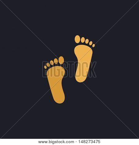 Footprint Color vector icon on dark background