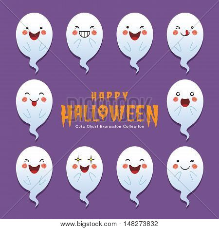 Set of collection of cute ghost with different face expression. Cartoon halloween ghosts vector icon set.