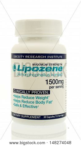 Winneconne WI - 3 September 2016: Bottle of Lipozene weight loss dietary supplement on an isolated background.