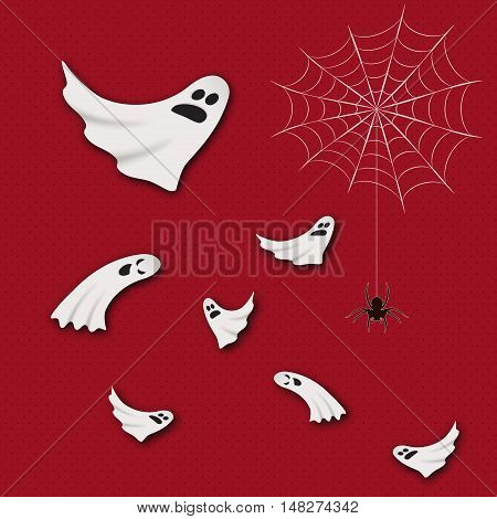 Cute vector ghosts flying in the air. Spooky Halloween concept. Ghosts and spider hanging on web, Halloween party. 2017 new Halloween design elements. Flyer, party invitation design.
