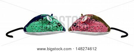 Toy Fabric Mice on Isolated White Background