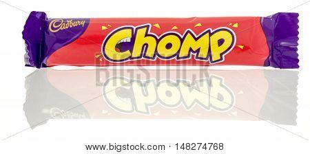 Winneconne WI - 23 July 2016: Cadbury Chomp candy bar on an isolated background.