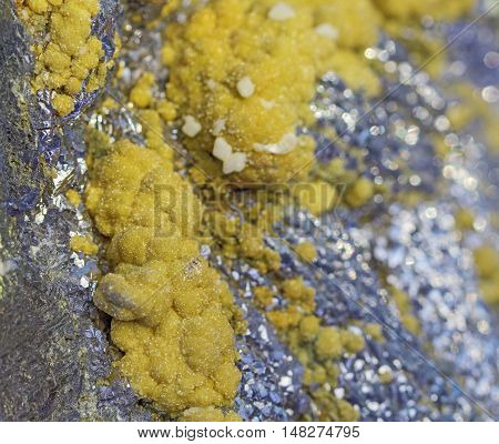 Natural mineral galena, calcite and siderite beautiful colorful background