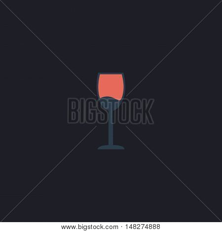 wineglass Color vector icon on dark background