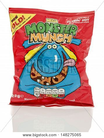 Winneconne WI - 23 July 2016: Bag of Mega Monster Munch pickled flamin' hot chips on an isolated background.