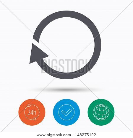 Update icon. Refresh or repeat symbol. Check tick, 24 hours service and internet globe. Linear icons on white background. Vector