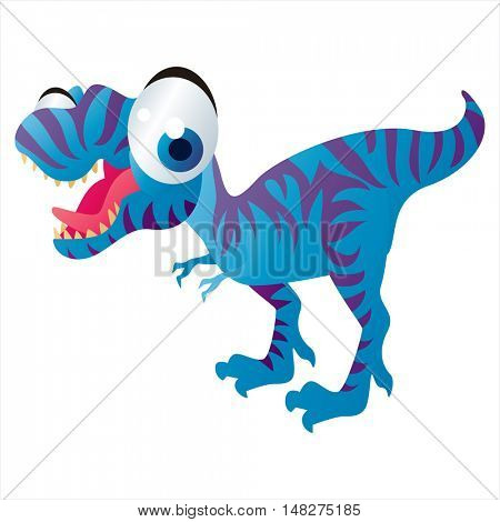 vector cartoon cute animal mascot. Funny colorful cool illustration of happy Tyrannosaurus Rex