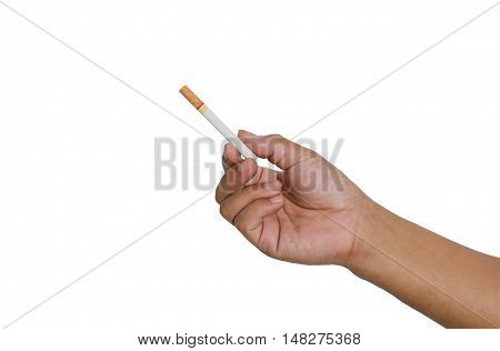 Filing a cigarette in hand on white background