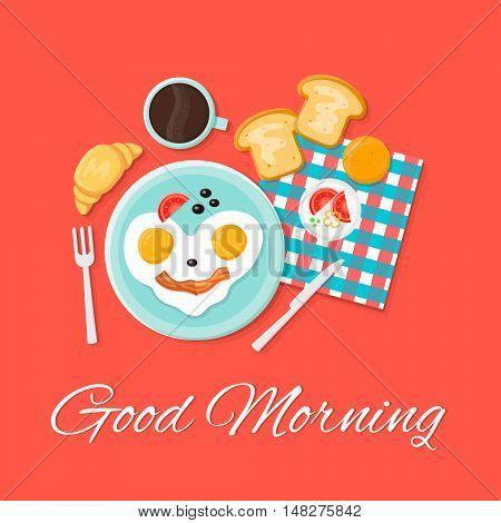 Breakfast isolated flat vector icon set illustration. Good morning. Eggs smile, toast, croissant, coffee