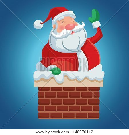 Santa cartoon inside chimney icon. Merry Christmas season and decoration theme. Colorful design. Vector illustration