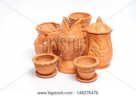 Set of clay pots collection isolated on white