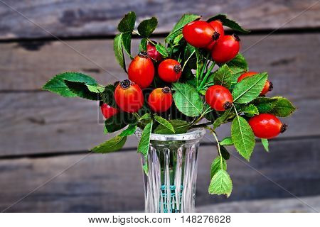 Ripe rosehips in a glass vase on a old wooden table