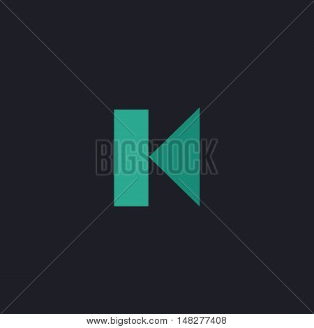 Back Track button Color vector icon on dark background