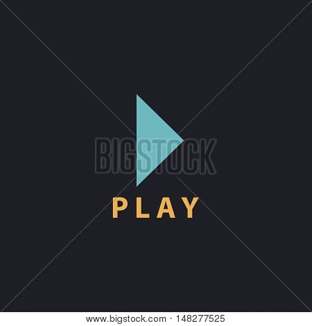 Play button Color vector icon on dark background