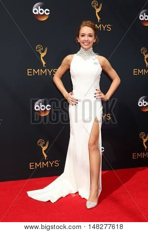 LOS ANGELES - SEP 18:  Holly Taylor at the 2016 Primetime Emmy Awards - Arrivals at the Microsoft Theater on September 18, 2016 in Los Angeles, CA