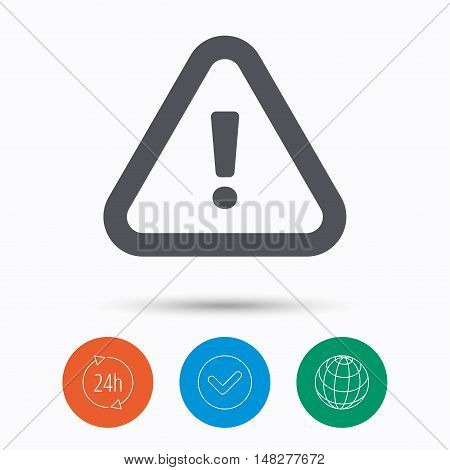 Warning icon. Attention exclamation mark symbol. Check tick, 24 hours service and internet globe. Linear icons on white background. Vector