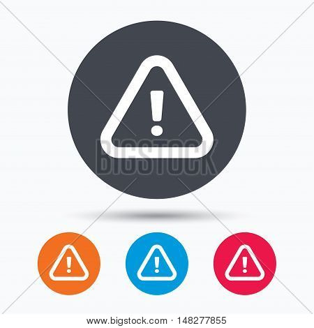 Warning icon. Attention exclamation mark symbol. Colored circle buttons with flat web icon. Vector