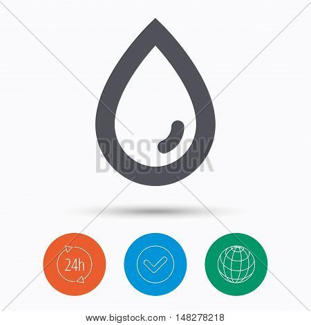 Water drop icon. Natural aqua symbol. Check tick, 24 hours service and internet globe. Linear icons on white background. Vector