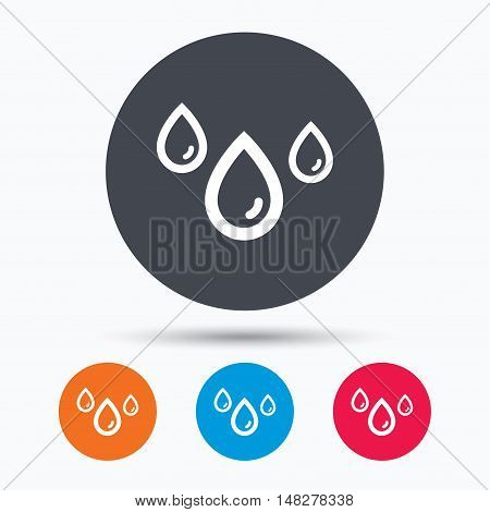Water drop icon. Rainy weather symbol. Colored circle buttons with flat web icon. Vector