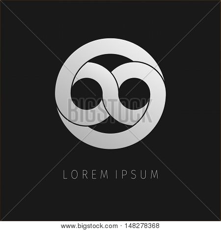 Grey infinity limitless icon. Logo template design eternity loop modern visual eight. Corporate branding identity. Vector illustration background.