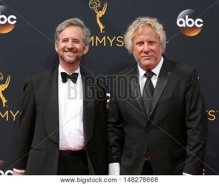 LOS ANGELES - SEP 18:  Scott Alexander, Larry Karaszewsk at the 2016 Primetime Emmy Awards - Arrivals at the Microsoft Theater on September 18, 2016 in Los Angeles, CA