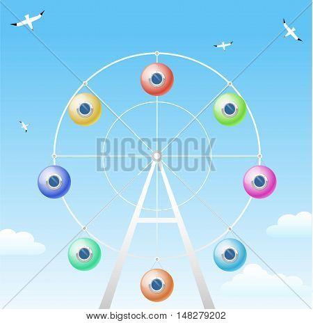 Ferris wheel with cabins in the form of colorful balloons with portholes. The concept of vector graphics