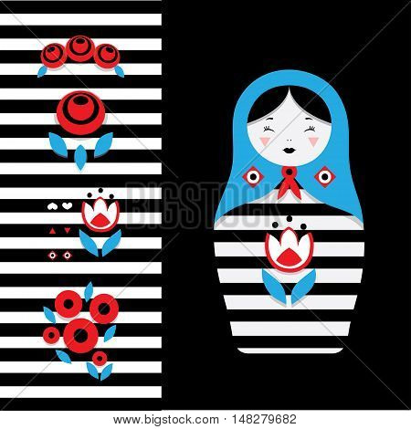 Russian dolls - matryoshka and decorative elements for design. Vector illustration.