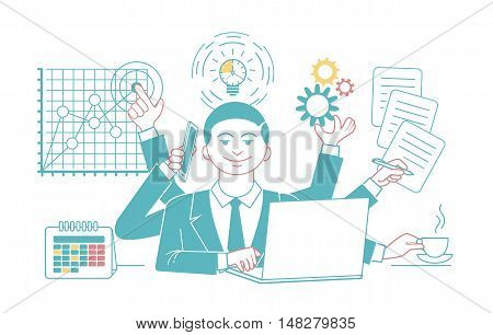 Businessman with multitasking and multi skill. Keep calm. Business concept. Linear style design