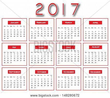 Red Simple 2017 Calendar - Calendar 2017 Design - Calendar 2017 New Year