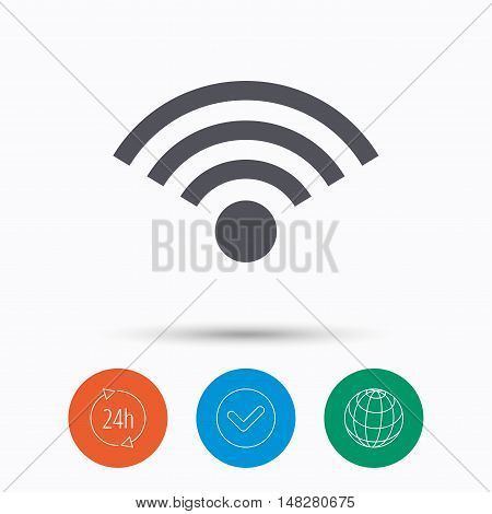Wifi icon. Wireless internet sign. Communication technology symbol. Check tick, 24 hours service and internet globe. Linear icons on white background. Vector