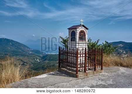 Orthodox chapel in the mountains on the Greek island of Lefkada