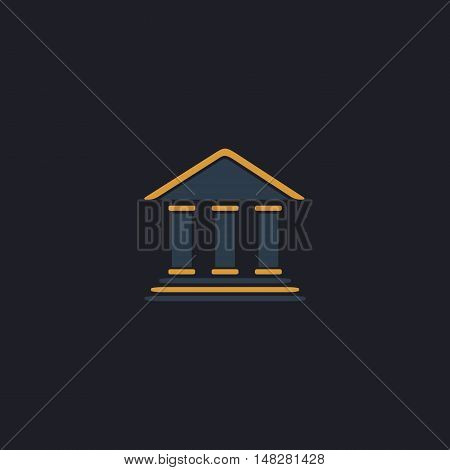 bank Color vector icon on dark background