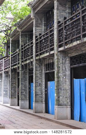 A chinese style building under construction in the City of Guangzhou China.