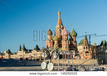 Moscow, Russia -February 18.2016. St. Basil's Cathedral on a Red Square