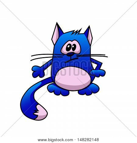 Blue cartoon cat with long whiskers and a fluffy tail