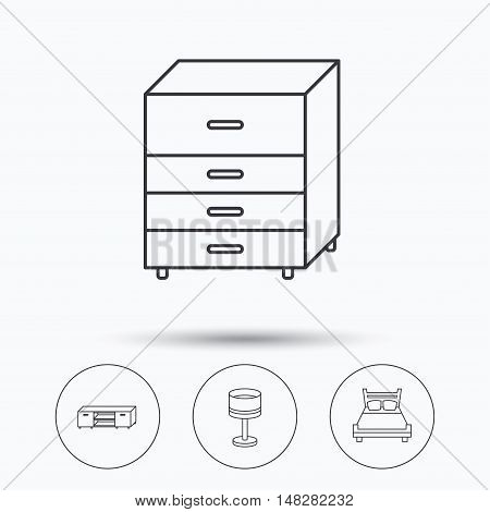 Double bed, table lamp and TV table icons. Chest of drawers linear sign. Linear icons in circle buttons. Flat web symbols. Vector