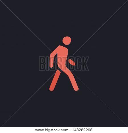 Walk Man Color vector icon on dark background