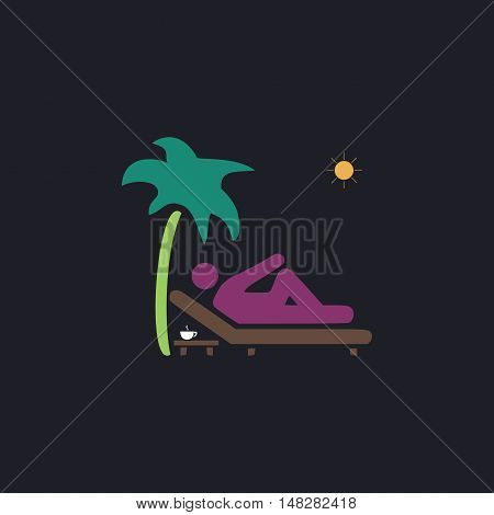 beach Color vector icon on dark background