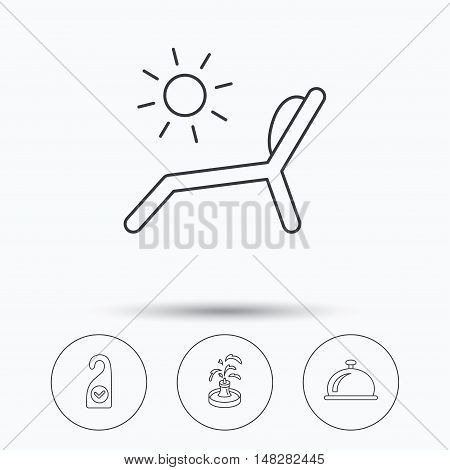 Reception bell, fountain and beach deck chair icons. Clean room linear sign. Linear icons in circle buttons. Flat web symbols. Vector
