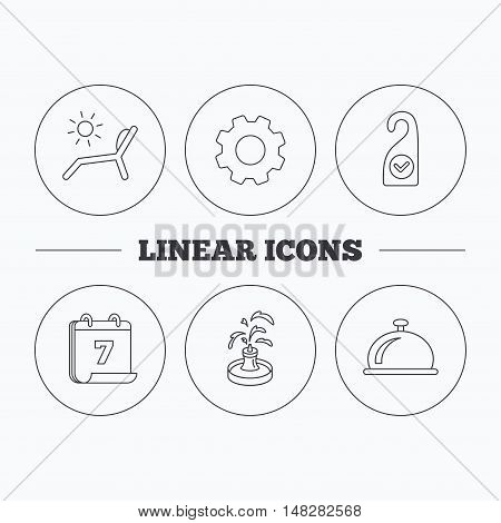 Reception bell, fountain and beach deck chair icons. Clean room linear sign. Flat cogwheel and calendar symbols. Linear icons in circle buttons. Vector